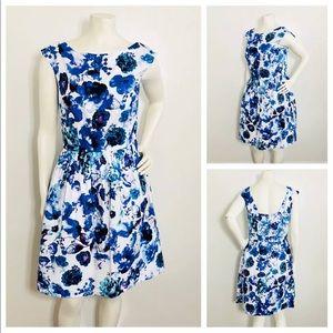 Eliza J  Fit & Flare Blue Floral Dress With Pocket